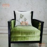 新中式实木单人沙发椅酒店会所大厅休闲沙发现代简约家具布艺沙发