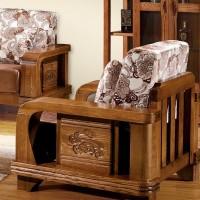 全实木 中式木架 榆木布艺沙发 榆木沙发客厅原木多功能组合