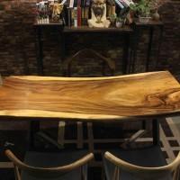 胡桃木合金欢实木北欧美式工业风设计师办公桌书桌吧台无拼接家具